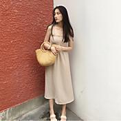 Mujer Corte Swing Vestido Casual/Diario Simple,Un Color Escote en U Midi Sin Mangas Rayón Verano Tiro Alto Microelástico Medio