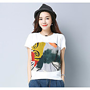 Mujer Simple Noche Casual/Diario Camiseta,Escote Redondo Estampado Manga Corta Algodón Poliéster