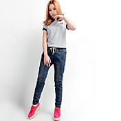 Mujer Sencillo Tiro Medio Microelástico Vaqueros Pantalones,Pantalones Harén Un Color