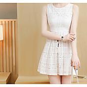 Mujer Línea A Vaina Vestido Noche Casual/Diario Simple Bonito Chic de Calle,Un Color Bordado Escote Redondo Sobre la rodilla Sin Mangas