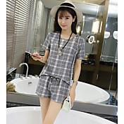 レディース カジュアル/普段着 夏 Tシャツ(21) パンツ スーツ,シンプル ラウンドネック 格子柄 半袖