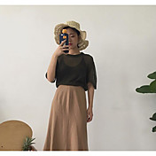 Mujer Corto Pullover Casual/Diario Un Color Escote Redondo Media Manga Acrílico Verano Fino Microelástico