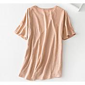 レディース お出かけ Tシャツ,シンプル ラウンドネック ソリッド コットン 半袖