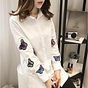 Mujer Simple Casual/Diario Primavera Camisa,Escote Cuadrado Estampado Manga Larga Algodón Medio
