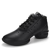 Mujer Zapatillas de Baile Semicuero Suela Dividida Entrenamiento Encajes Tacón Cuadrado Blanco Negro