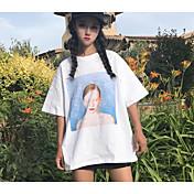 レディース カジュアル/普段着 Tシャツ,シンプル ラウンドネック プリント コットン ハーフスリーブ