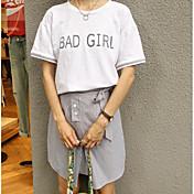 レディース お出かけ カジュアル/普段着 夏 Tシャツ(21) スカート スーツ,シンプル ラウンドネック ソリッド ストライプ 半袖