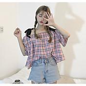 Mujer Simple Casual/Diario Camiseta,Con Tirantes A Cuadros Media Manga Algodón