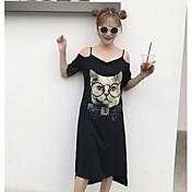 Mujer Camiseta Vestido Casual/Diario A Rayas Estampado Sin Tirantes Midi Manga Corta Algodón Verano Tiro Alto Microelástico Medio