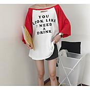 Mujer Simple Casual/Diario Camiseta,Escote Redondo Un Color Estampado Bloques Manga 3/4 Algodón
