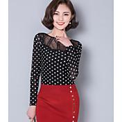Mujer Simple Casual/Diario Camiseta,Escote Redondo A Lunares Manga Larga Poliéster