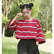 Mujer Simple Casual/Diario Camiseta,Escote Redondo A Rayas Manga 3/4 Algodón