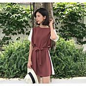 Mujer Corte Ancho Vestido Noche Un Color Estampado Escote Redondo Sobre la rodilla Manga Corta Algodón Primavera Tiro Medio Microelástico