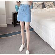 Mujer Noche Mini Faldas,Línea A Verano Un Color