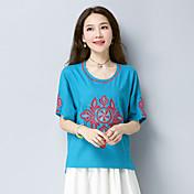 Mujer Tejido Oriental Casual/Diario Camiseta,Escote Redondo Bordado Manga Corta Algodón Lino