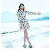 Mujer Línea A Vestido Casual/Diario Floral Cuello Barco Sobre la rodilla Manga Larga Algodón Primavera Verano Tiro Medio Microelástico