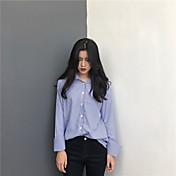 Mujer Simple Casual/Diario Camisa,Cuello Camisero Un Color A Rayas Manga Larga Algodón