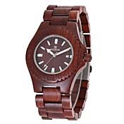 女性用 腕時計 ウッド 日本産 クォーツ 木製 ウッド バンド チャーム ラグジュアリー エレガント腕時計 レッド ブラウン
