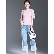 Mujer Simple Noche Verano Blusa Pantalón Trajes,Escote Redondo Un Color Manga Corta Microelástico