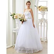 Salón Escote Corazón Hasta el Suelo Encaje Tul Vestido de novia con Apliques Detalles de Cristal por LAN TING BRIDE®