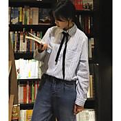 レディース お出かけ カジュアル/普段着 シャツ,シンプル シャツカラー ストライプ コットン 長袖