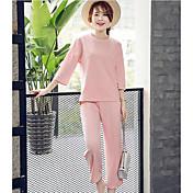 Mujer Simple Casual/Diario Primavera T-Shirt Pantalón Trajes,Escote Redondo Un Color Manga Tres Cuartos