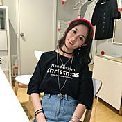Mujer Sexy Noche Camiseta,Escote Redondo Un Color Manga Corta Algodón