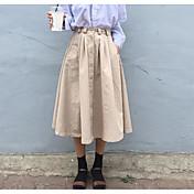 Mujer Casual/Diario Midi Faldas,Columpio Verano Un Color