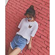 Mujer Simple Casual/Diario Camiseta,Escote Redondo Estampado Animal Manga Corta Algodón