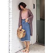 Mujer Largo Cardigan Playa Un Color Escote Redondo Manga Larga Otro Primavera Verano Medio Microelástico