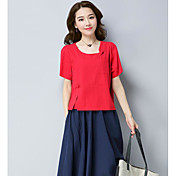 Mujer Tejido Oriental Casual/Diario Camiseta,Escote Redondo Un Color Manga Corta Algodón Lino