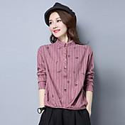 Mujer Simple Casual/Diario Camisa,Escote Chino A Rayas Estampado Manga Larga Algodón