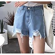 Mujer Sencillo Tiro Medio Microelástico Shorts Vaqueros Pantalones,Delgado Un Color
