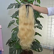 Mujer Pelucas de Cabello Natural Cabello humano Encaje Frontal 130% Densidad Ondulado Grande Peluca Negro / Bleach Blonde Corto Medio