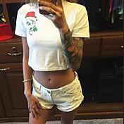 Mujer Simple Noche Camiseta,Cuello Barco Un Color Floral Manga Corta Algodón
