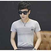Hombre Simple Casual/Diario Camiseta,Escote Redondo A Rayas Manga Corta Algodón