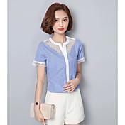 Mujer Simple Casual/Diario Camiseta,Escote Corazón A Rayas Manga Corta Algodón