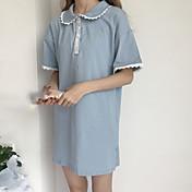 Mujer Corte Ancho Vestido Casual/Diario Simple,Un Color Escote Redondo Sobre la rodilla Manga Corta Algodón Verano Tiro Medio