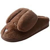 Hombre Zapatos Terciopelo Invierno Forro de pelusa Forro de piel Zapatillas y flip-flops Pompón Para Casual Gris Marrón