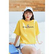 Mujer Simple Noche Camiseta,Escote Redondo Estampado Animal Media Manga Algodón
