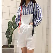 Mujer Sencillo Tiro Alto Microelástico Perneras anchas Mono Pantalones,Corte Recto Un Color