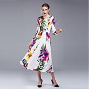 Mujer Corte Swing Vestido Noche Casual/Diario Bonito Chic de Calle,Floral Escote Redondo Midi Manga Larga Poliéster Para Todas las