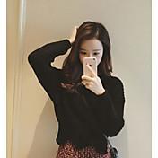Mujer Regular Pullover Casual/Diario Simple,Un Color Escote Redondo Manga Larga Otro Invierno Medio Rígido