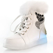 Mujer Bailarinas Confort Innovador Zapatos con luz Otoño Invierno PU Casual Purpurina Con Cordón Tacón Plano Blanco Negro Plano