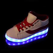 Mujer Zapatillas de deporte Confort Innovador Zapatos con luz Otoño Invierno PU Casual Con Cordón Tacón Plano Negro Rojo Plano