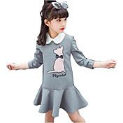 Vestido Chica de Casual/Diario Estampado Algodón Poliéster Manga Larga Primavera Otoño