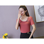 Mujer Corto Pullover Casual/Diario Un Color Escote en U Manga Corta Algodón Verano Medio Microelástico