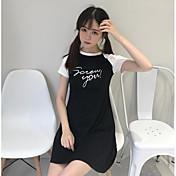Mujer Corte Ancho Vestido Noche Un Color Letra Escote Redondo Sobre la rodilla Manga Corta Algodón Verano Tiro Medio Microelástico Fino