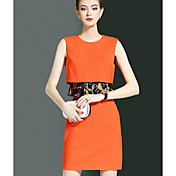 レディース シンプル ワーク シース ドレス,ソリッド ラウンドネック 膝上 ノースリーブ コットン 夏 ミッドライズ マイクロエラスティック ミディアム
