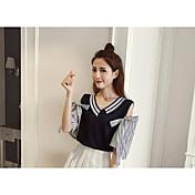 Mujer Regular Pullover Casual/Diario Un Color Escote en Pico Media Manga Algodón Primavera Verano Fino Medio Microelástico